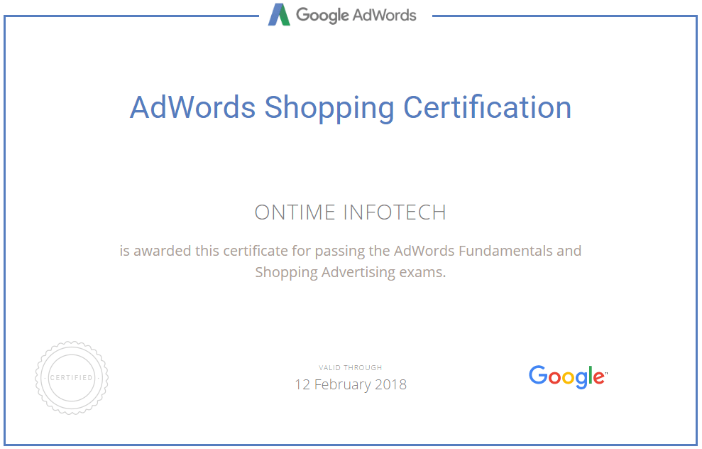Google Adwords Certification - onTime Infotech